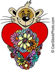 Valentine teddy in vector