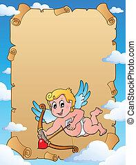 Valentine theme parchment 1 - vector illustration.