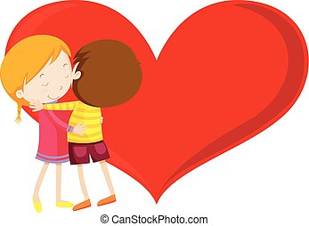 Valentine theme with kids hugging