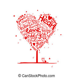 Valentine tree heart shape for your design