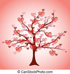 Valentine tree, love, leaf from hearts