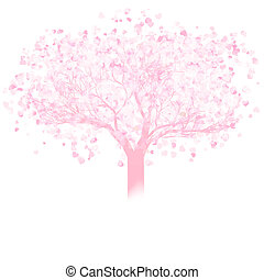 Valentine tree with hearts. EPS 8