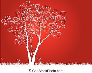 Valentine tree with hearts on a grass, illustration on Red Background