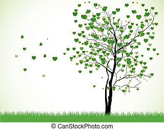Valentine tree with hearts on a grass, illustration on white Background