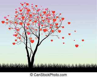 Valentine tree with hearts on a grass, illustration