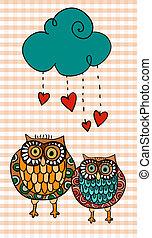 Valentine two owls under love rain