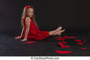 valentine valentine background, heart, on the floor hearts romance wedding. shape. copy space feeling, joy in red dress girl, barefoot
