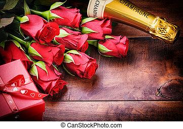 valentine, vatting, met, rode rozen, champagne, en, cadeau