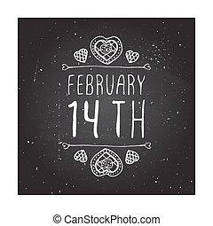 valentine, vecteur, saint, handdrawn, écusson, jour