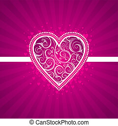 Valentine vector card with ornate heart