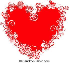 valentine, vector, grunge, corazón, marco