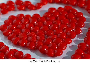 valentine, vermelho, bala doce, ligado, um, apartamento, fundo