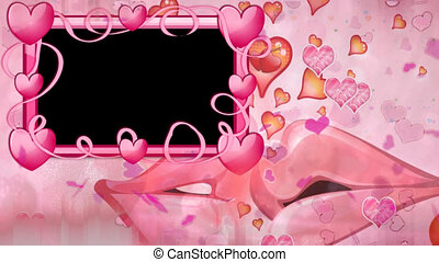 Romantic flying pink hearts with alpha background in square shape frame with hearts for TV program with Valentine and Wedding theme. Seamless loopable HD video They are compatible with industry standard, integrated live production suites and non-linear editing solutions like Adobe After Effects, ...