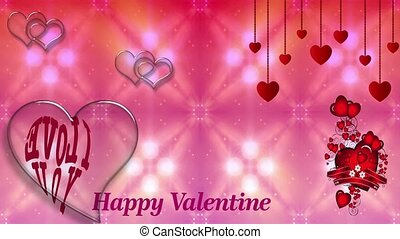 Pink abstract background with glitter sparkes, red hanging hearts decoration and crystal heart shape with movable I love you text for TV program with Valentine and Wedding theme. Seamless loopable HD video They are compatible with industry standard, integrated live production suites and non-linear ...