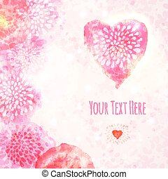 Valentine Watercolor Card with Heart. Vector illustration, eps10 editable.