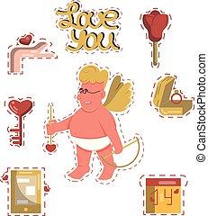 valentine, wektor, majchry, rysunek, dzień