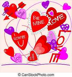 Illustration of a valentine card that shows visions of valentine wishes.