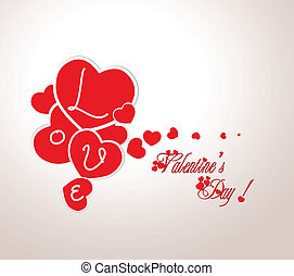 Valentine with hearts
