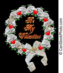 Valentine Wreath card design on bla