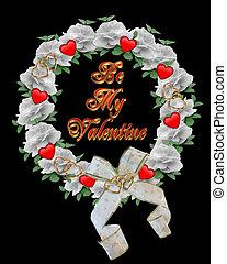 Valentine Wreath card design on bla