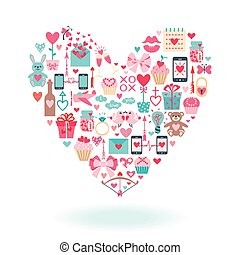 Valentine's Day flat icons arrange in the form of heart.