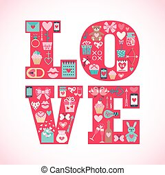 Valentine's day greeting card with flat icons