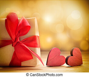 Valentine's gift with red wooden hearts