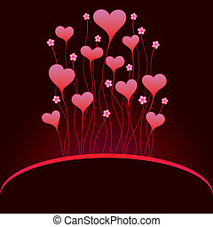 Valentinei card with hearts