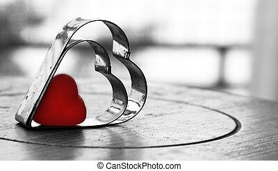 valentines天, 背景, 带, 心