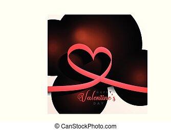 valentines, élégant, fond, cœurs, jour, ruban