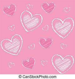valentine\'s, 심혼, 핑크, 아이콘, 밀려서