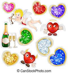 valentines, adesivi, elementi