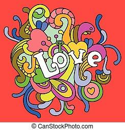 valentines, amour, jour, illustration