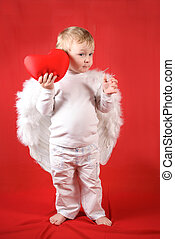 Valentine's amour - Little amour blond boy with red heart