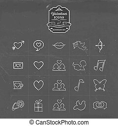 Valentines and love hand drawn sketch icon set