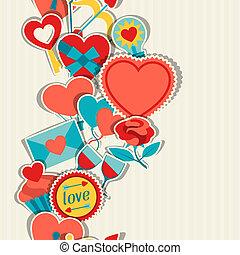Valentine's and Wedding seamless pattern.