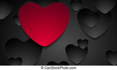 valentines, animation, noir, cœurs, vidéo, jour, rouges