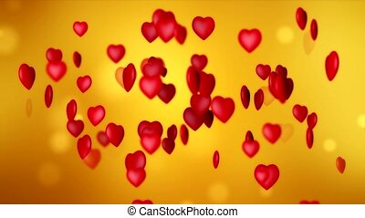 valentines, -, animation, vidéo, cœurs, jour, rouges