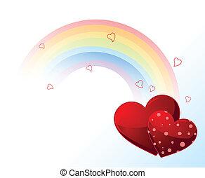 valentines, arc-en-ciel, jour