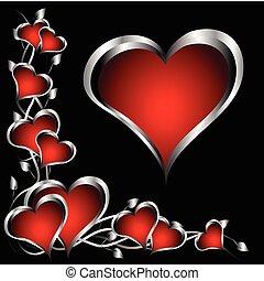 valentines, argento, fondo, cuori, giorno, rosso