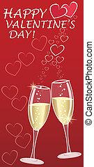 valentines, augurio, con, champagne