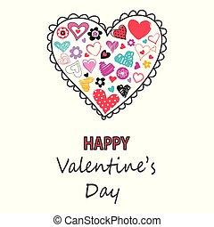 valentines, augurio, mano, disegnato, cuori, icon., giorno, scheda