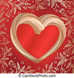 Valentines background abstract golden heart on red