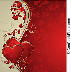 Red valentines background with hearts and ornament