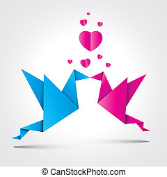 Valentines Background. Two kissing origami birds with shadow.