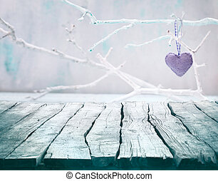 Valentines day background. Wood Tabletop with heart. Valentines concept