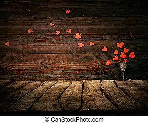 Valentines background - Valentines day background. Wood...