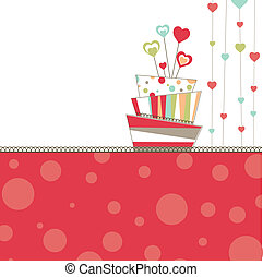 Valentine's background with pink cake. vector illustration