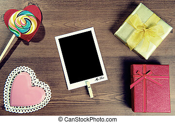 Valentines background with candy and gift with vintage...