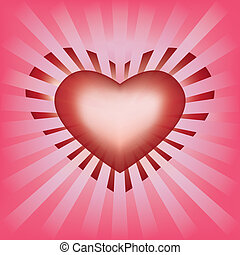 Valentines background with heart and rays